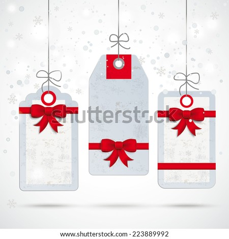 Christmas price stickers with snowflakes on the white background. Eps 10 vector file. - stock vector