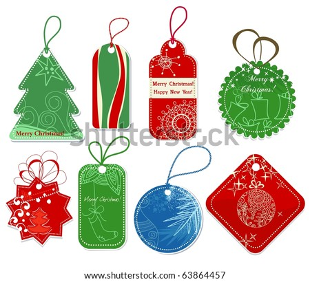 Christmas price tags collection - stock vector