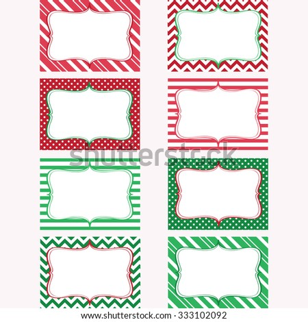 Christmas Printable Labels Set. Tags, Photo Frame, Gift Tags, Scrap booking,Card Making, Invitation. - stock vector