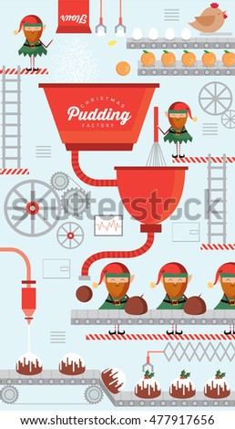 christmas pudding factory vector/illustration