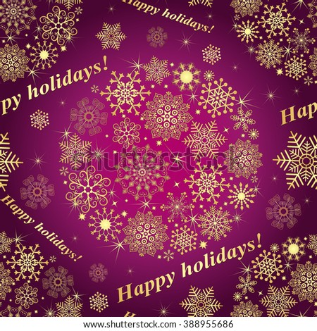 Christmas purple seamless pattern with gold vintage filigree snowflakes (vector) - stock vector