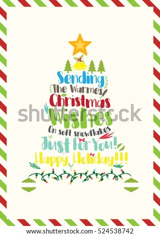 Christmas quote christmas card template sending stock vector christmas quote christmas card template sending the warmest christmas wishes on soft snowflakes just m4hsunfo