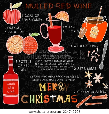 Christmas Recipe of Hot red drink- mulled wine with  spices: honey,whole cloves, anise and cinnamon sticks.  - stock vector
