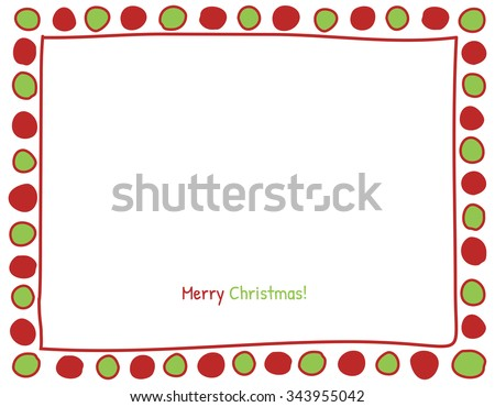 Christmas Red and Green Circle Background. Photo Frame Border, Scrapbook Embellishment. Vector Illustration. - stock vector