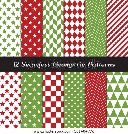 Christmas Red and Green Geometric Seamless Patterns. Backgrounds in Diamond, Chevron, Polka Dot, Checkerboard, Stars, Triangles, Herringbone and Stripes Patterns. Pattern Swatches with Global Colors. - stock vector
