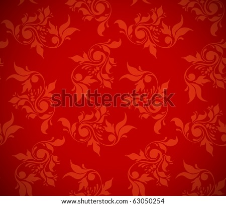 christmas red background, floral seamless texture - stock vector