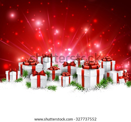 Christmas red background with gifts. Vector Illustration. - stock vector