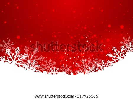 Christmas red background with snowflakes - stock vector