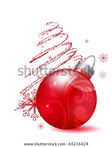 Christmas red ball isolated - stock vector