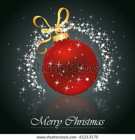 Christmas red ball whit stars . Vector eps10 illustration - stock vector