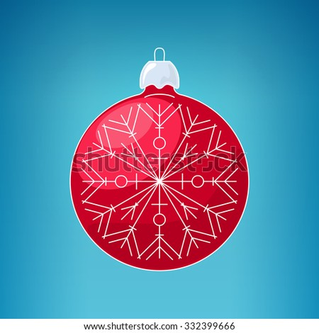 Christmas Red Ball with Snowflake , Christmas Ball  on a Blue Background , Christmas Tree Decoration, Merry Christmas and Happy New Year,  Vector Illustration - stock vector