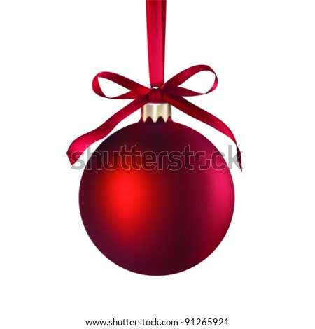 Christmas red bauble ball hanging on a ribbon isolated on white, vector illustration - stock vector