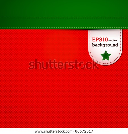 Christmas red canvas (seamless pattern) with label - stock vector