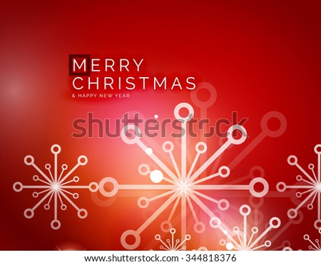 Christmas red color abstract background with white transparent snowflakes. Holiday winter template, New Year layout - stock vector