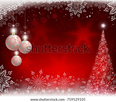 Christmas Red Design With Balls And Beautiful Snowflakes Glitter Tree