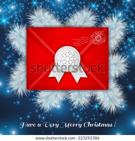Christmas red envelope with white wax seal. Vector illustration. White frosty pine Christmas tree branches. Lights, sparkles. - stock vector