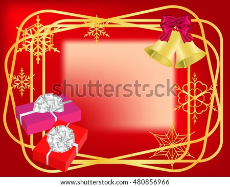Christmas red  frame with golden borders, bells, gifts and snowflakes