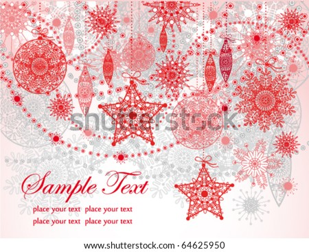 Christmas red greeting card - stock vector