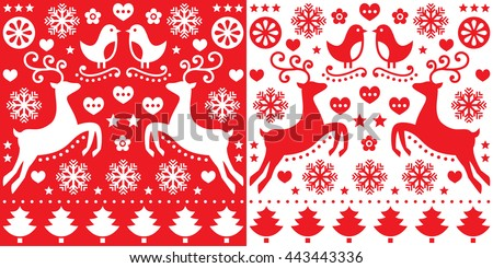 Christmas red greetings card pattern with reindeer - folk art style - stock vector