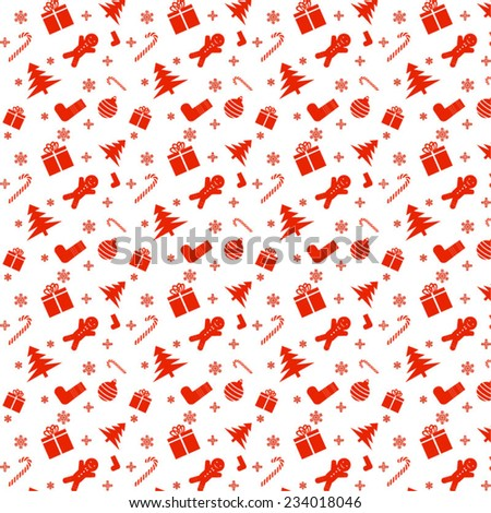 Christmas red pattern on white background - stock vector