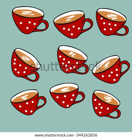 Christmas red polka-dot cups with hot coffee, tea and cocoa - stock vector