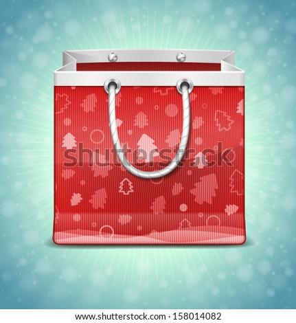 Christmas Red Shopping Bag - stock vector