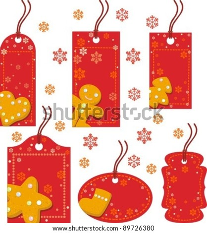 Christmas red tag with ginger biscuits, vector illustration