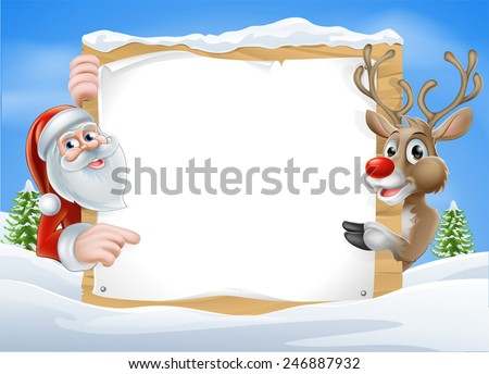 Christmas Reindeer and Santa Sign with cute cartoon Reindeer and Santa pointing at a snow covered sign on a winter landscape - stock vector