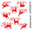 Christmas reindeer illustrated in many moves decorated with snow flakes. - stock vector