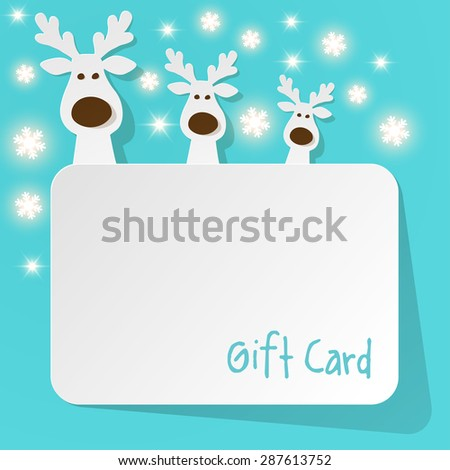 Christmas Reindeer on a turquoise background with sonowflakes - stock vector