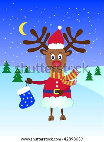 Christmas reindeer Rudolf - stock vector