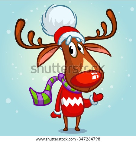 christmas reindeer rudolph in santa claus hat and striped scarf pointing a hand vector illustration - Rudolph And Santa