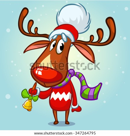 christmas reindeer rudolph in santa hat ringing a bell vector illustration on snowy background - Rudolph And Santa