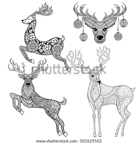 christmas reindeer set in patterned style for adult anti stress coloring pages book art - Holiday Pictures To Colour