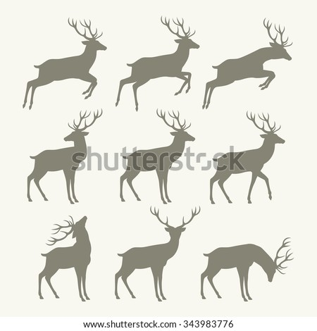 christmas reindeer silhouettes - stock vector