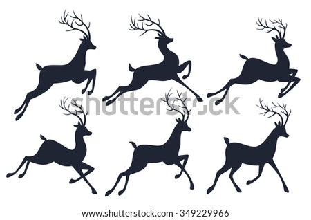 Christmas reindeer silhouettes isolated on white background. Vector collection - stock vector