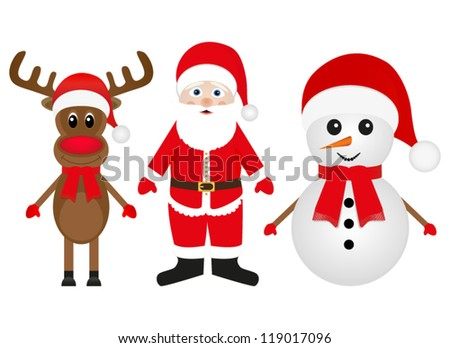 Christmas  reindeer snowman and Santa Claus on a white background