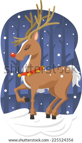 Christmas reindeer vector cartoon illustration - stock vector