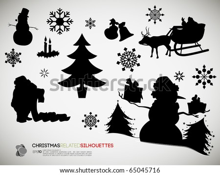 Christmas Related Silhouettes | Vector Set - stock vector