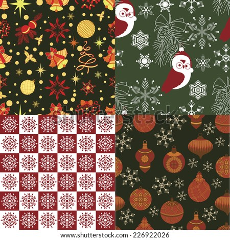 Christmas repeating swatches - stock vector