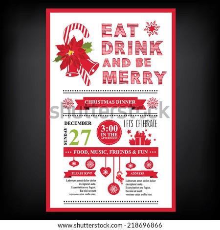 Christmas restaurant and party menu, invitation.  - stock vector