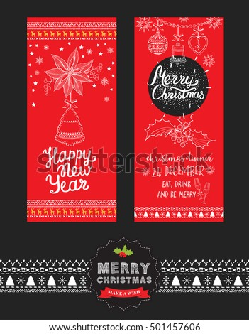 holiday brochure template - set christmas cards garlands vector illustration stock