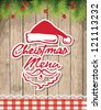Christmas restaurant menu with christmas tree on wood background old texture. Vector illustration - stock photo