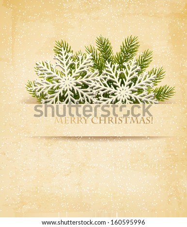Christmas retro background with tree branches and snowflake. Vector.  - stock vector
