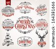 Christmas Retro Icons, Elements And Illustrations Set - stock