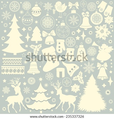 Christmas retro icons, set of Christmas elements on blue background - stock vector