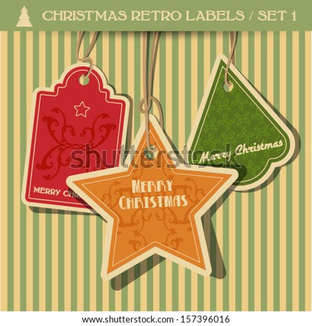 christmas retro labels - set 1 - stock vector