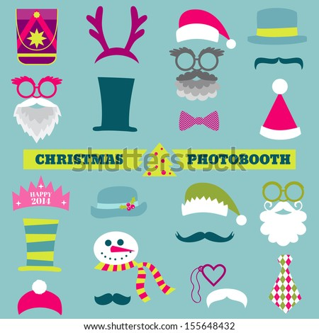 Christmas Retro Party set - Glasses, hats, lips, mustaches, masks - for design, photo booth in vector - stock vector