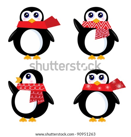 Christmas retro Penguin set isolated on white ( red ) - stock vector