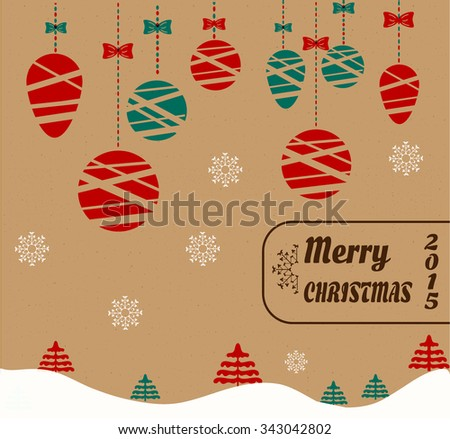 Christmas, retro poster, background, backdrop, card with winter landscape with red and blue trees, simple, hanging decorations - balls with bows, white, falling snowflakes, text Merry Christmas - stock vector
